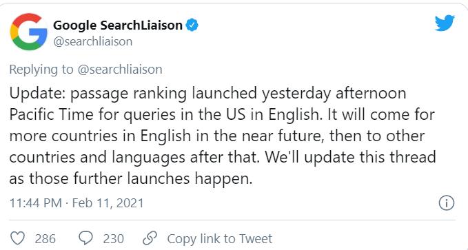 Google announces Passage Ranking - Milestone Inc - www.milestoneinternet.com