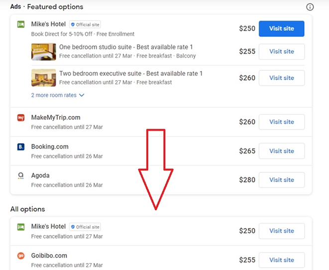 Organic meta listings added to Hotel Ads section