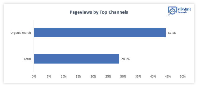Pageviews by top channels